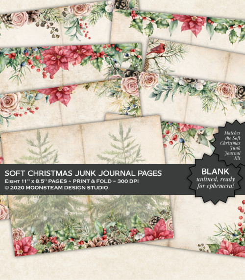 Soft Christmas Blank Journal Pages by Moonsteam Design Studio