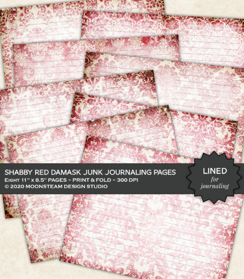 Shabby Red Damask Lined Journal Pages by Moonsteam Design Studio